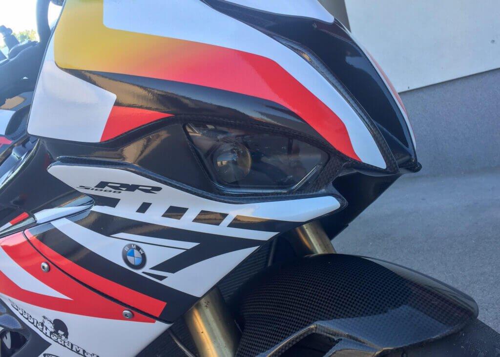 BMW S1000RR race fairings cutouts for the headlights.